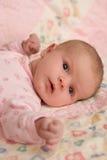 Baby Girl Lying on Blanket Stock Image