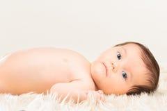 Baby girl lying on furry blanket Stock Images