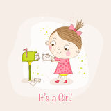 Baby Girl with Mail - Baby Shower Card Stock Images