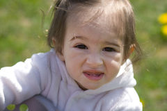 Baby girl on the meadow Stock Images