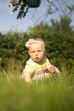 Baby girl in a meadow III stock photography