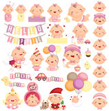 Baby Girl Milestone Vector Set. A vector set of cute baby girl milestone Stock Image