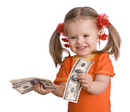 Baby girl with money dollar banknote. Royalty Free Stock Photo