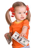 Baby girl with money dollar in hand. Royalty Free Stock Photo