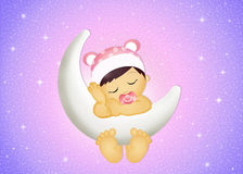 Baby girl on the moon. Illustration of baby girl on the moon Royalty Free Stock Image
