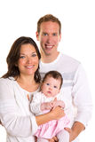 Baby girl mother and father family happy on white Royalty Free Stock Photo