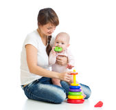 Baby girl and mother playing together Royalty Free Stock Photo