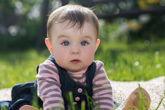 Baby girl on nature in the park outdoor Royalty Free Stock Images