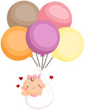 Baby Girl Newborn Fly with Balloon Stock Photography