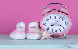 Baby girl nursery cute white and pink booties Stock Image