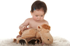 Baby girl observing stuffed animal horse Stock Image