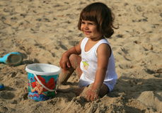 Free Baby Girl On The Beach Royalty Free Stock Image - 7235156