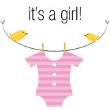 Baby Girl Onesie. An image of a baby girl pink onesie hanging on a clothesline with birds Stock Photo