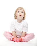 The baby girl open-mouthed with astonishment stock images