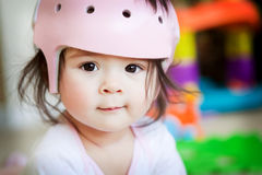Baby Girl With Orthopedic Helmet Stock Image