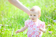 Baby girl outdoor Stock Images