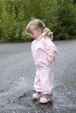 Baby Girl outdoor. Baby Girl in a pool of water Royalty Free Stock Image