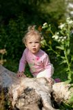 Baby-girl outdoors Royalty Free Stock Photos