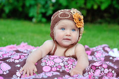 Baby girl outside in a handmade Royalty Free Stock Photo