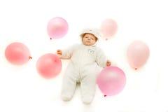 Baby girl over white Stock Photos