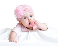 Baby girl with pacifier. Cute baby girl with pacifier stock photography