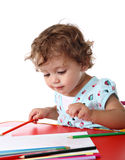 Baby girl painting Royalty Free Stock Photography