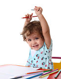 Baby Girl Painting Royalty Free Stock Photos