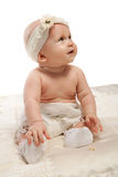 Baby girl in pants Royalty Free Stock Image