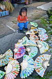 Baby Girl and Paper Fans Royalty Free Stock Photography
