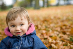 Baby girl in park Royalty Free Stock Image