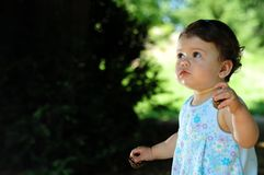 Baby girl in park Stock Photos