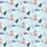 Baby girl pattern. On the blue background. Vector illustration Stock Photography