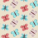 Baby girl pattern with blue and pink butterflies. Seamless baby girl pattern with blue and pink butterflies. Cute light color kids texture with butterfly for vector illustration