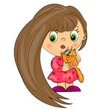 Baby girl with pet.  kid with  cat Royalty Free Stock Photo