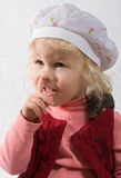 Baby girl with pet rat Royalty Free Stock Photo