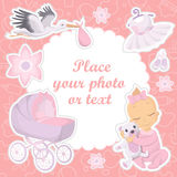 Baby girl photo album cover Royalty Free Stock Images