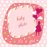 Baby girl photo frame. Baby girl, pink photo frame and  illustration Royalty Free Stock Photos