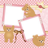 Baby girl photo frame with teddy bear Royalty Free Stock Photography