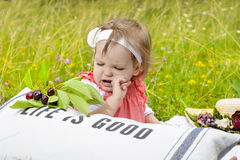 Baby Girl Picnic Stock Photos