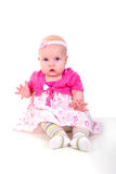 Baby Girl In Pink. Stock Photo