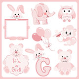 Baby girl pink animals digital clipart Stock Images