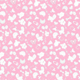 Baby girl pink background. Vector seamless pregnancy pattern. for Shower. outline Stock Photo