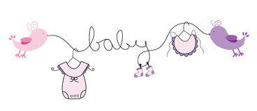 Baby Girl. Pink clothes line Royalty Free Stock Image
