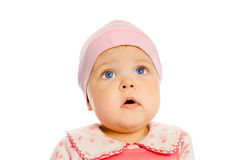 Baby girl in a pink dress and hat. Portrait. Studio. Isolated. Royalty Free Stock Photos
