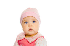Baby girl in a pink dress and hat. Portrait. Studio. Isolated. Royalty Free Stock Photo