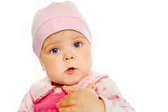 Baby girl in a pink dress and hat. Portrait. Studio. Isolated. Stock Photography
