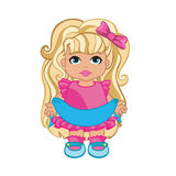 Baby Girl In Pink Dress. Vector illustration of beautiful baby girl in a pink dress Royalty Free Stock Images