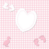 Baby Girl Pink Gingham background Stock Images