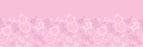 Baby girl pink horizontal seamless pattern. Vector baby girl pink horizontal seamless pattern background ornament with hand drawn elements Stock Photo