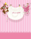 Baby girl pink openwork announcement card Royalty Free Stock Photo